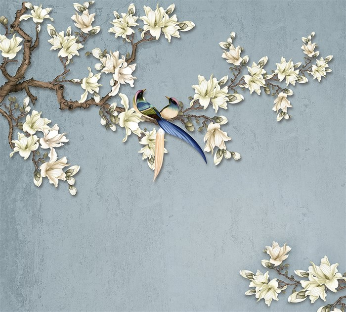 Фотообои DIVINO DECOR T-050 Ветви с белыми цветами 300х270см