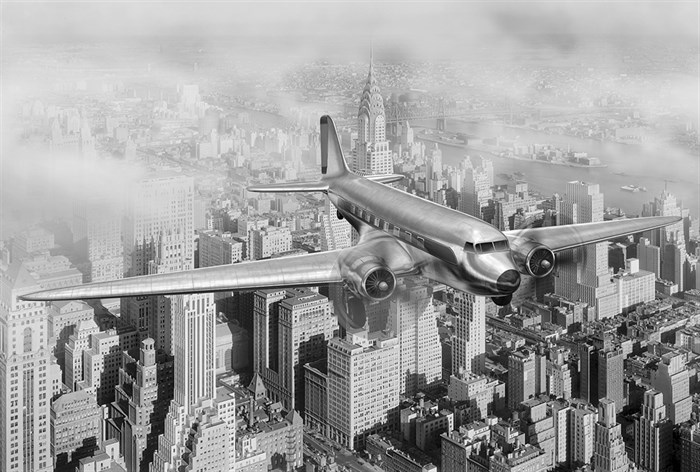 Фотообои DIVINO DECOR T-222 Самолет над городом 400х270см - фото 13646