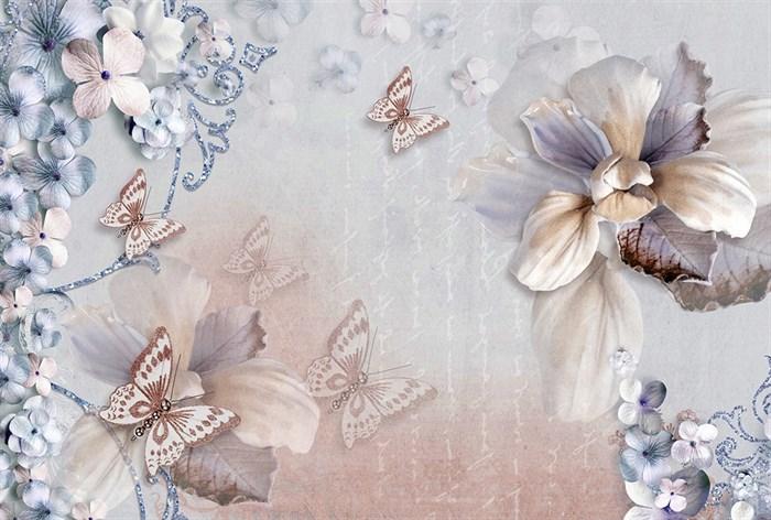 Фотообои DIVINO DECOR T-018 Бабочки на цветах 400х270см - фото 13764