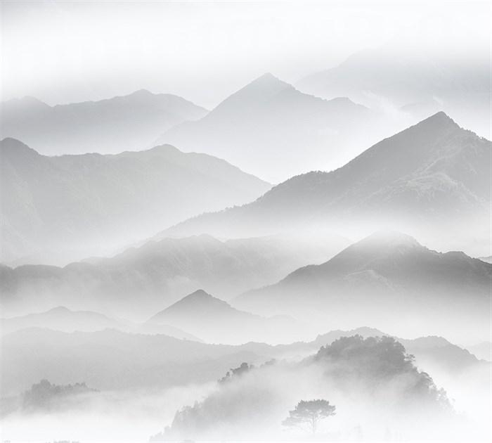 Фотообои DIVINO DECOR T-078 Горы в тумане чб 300х270см - фото 14716