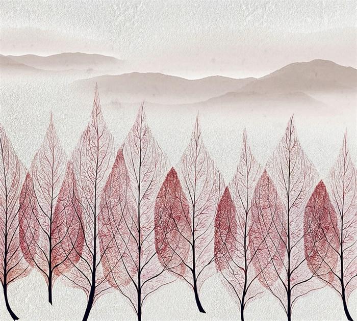 Фотообои DIVINO DECOR T-145 Листья на фоне гор 300х270см - фото 14737