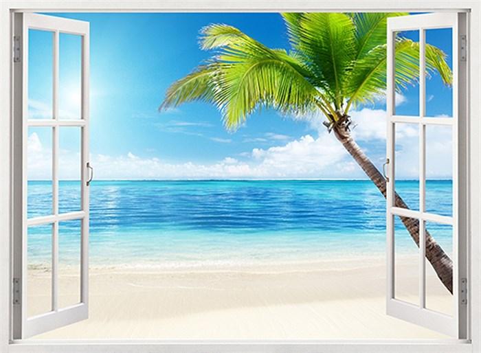 Фотообои DIVINO DECOR B-100 Окно на пляж 200х147см - фото 16333