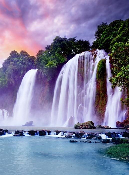 Фотообои DIVINO DECOR C-094 Восход над водопадом 200х270см - фото 17967