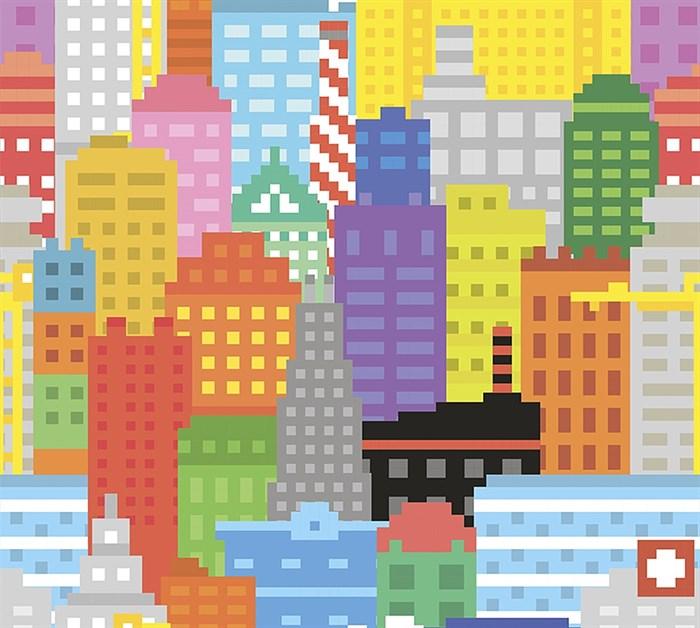 Фотообои DIVINO DECOR C-035 Пиксельный город 300х270см - фото 18185