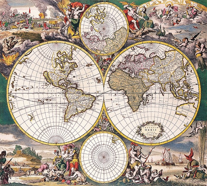 Фотообои DIVINO DECOR D-044 Старинная карта мира 300х270см - фото 18971