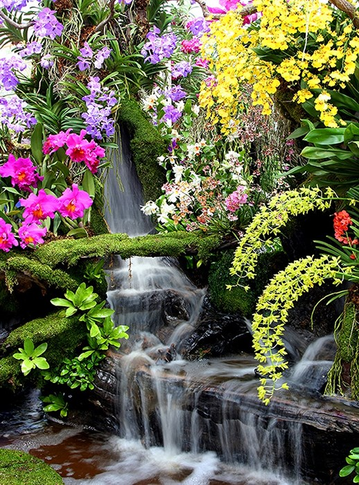 Фотообои DIVINO DECOR D-084 Водопад в цветах 200х270см - фото 19603