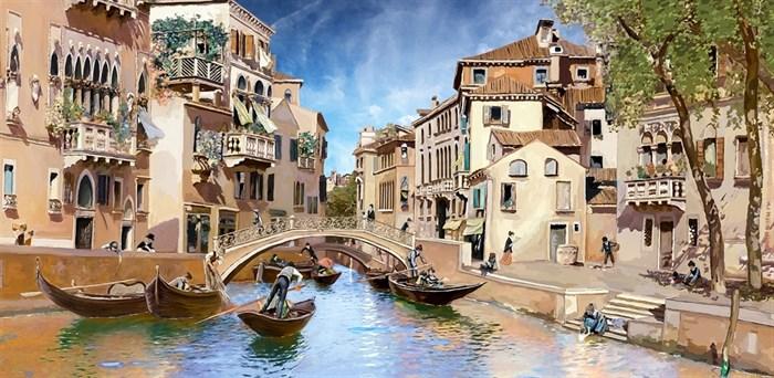 Фотообои DIVINO DECOR H-032 Канал Венеции живопись 300х147см - фото 21644
