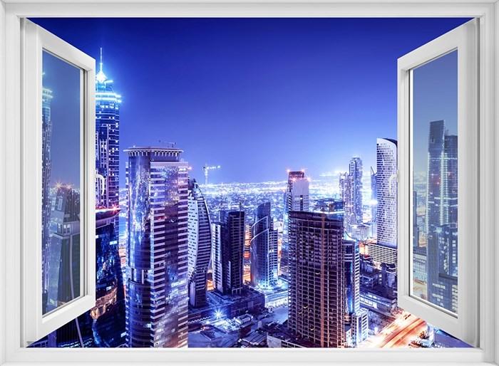 Фотообои DIVINO DECOR H-025 Окно с видом на ночной город 200х147см - фото 21850