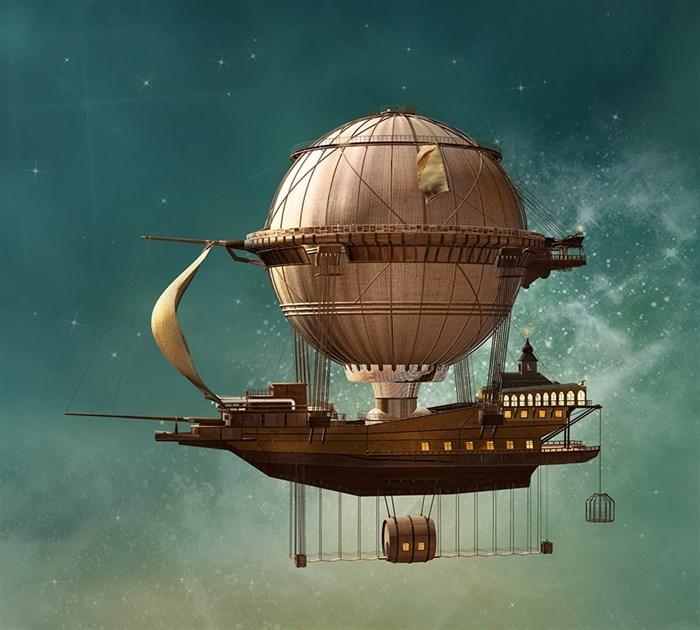 Фотообои DIVINO DECOR H-045 Воздушный шар стимпанк  300х270см - фото 22139