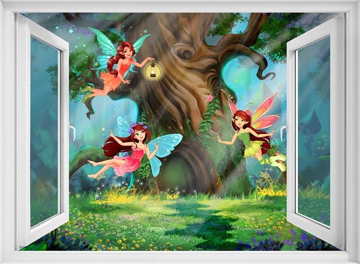 Фотообои DIVINO DECOR H-069 Окно в волшебный лес 200х147см - фото 22185