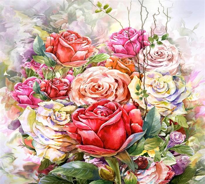 Фотообои DIVINO DECOR L-026 цветы живопись 300х270см - фото 23840
