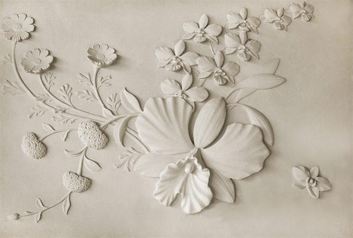 Фотообои DIVINO DECOR K-005 Барельеф цветы на стене 400х270см - фото 24008