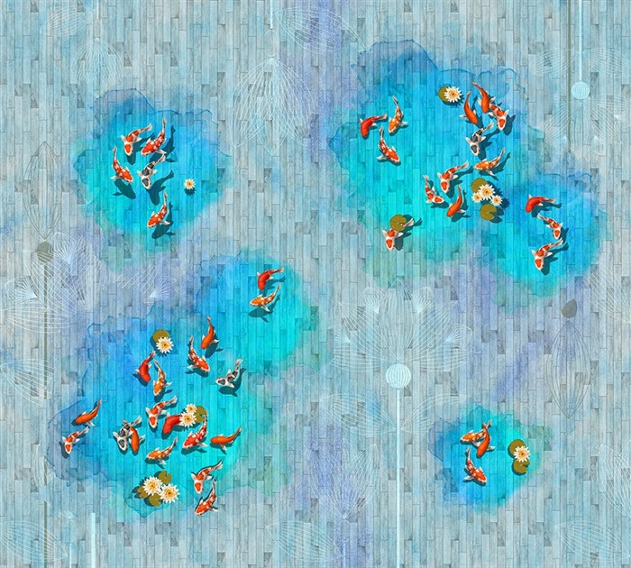 Фотообои DIVINO DECOR T-219 Рыбки на деревянном фоне 300х270см - фото 24137