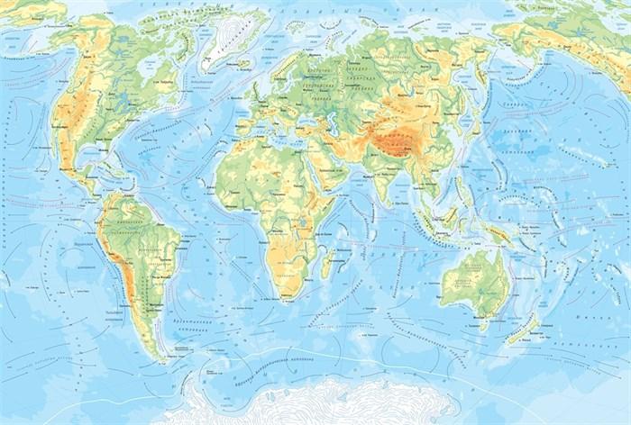 Фотообои DIVINO DECOR L-082 Физическая карта мира 400х270см - фото 24473