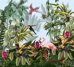 Фотообои DIVINO DECOR T-195 Птицы в тропиках 300х270см
