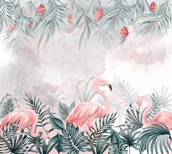 Фотообои DIVINO DECOR T-261 Фламинго в пальмовых листьях 300х270см