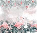 Фотообои DIVINO DECOR T-261 Фламинго в пальмовых листьях 300х270см - фото 13719