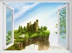 Фотообои DIVINO DECOR H-022 Окно с видом на замок  200х147см - фото 21823
