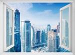 Фотообои DIVINO DECOR H-023 Окно с видом на дневной город 200х147см - фото 21832