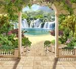 Фотообои DIVINO DECOR K-023 Райские водопады 300х270см - фото 23421